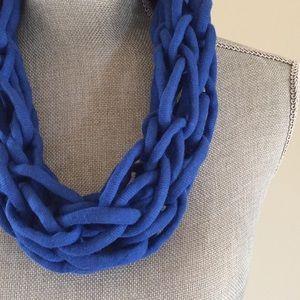 Royal blue handmade arm knit infinity scarf